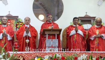 Bishop Peter Paul Saldanha celebrates Holy Mass on fourth day of annual feast